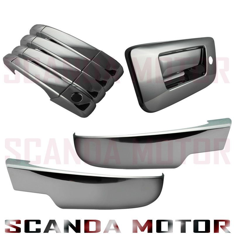Silverado 07 08 09 10 11 12 13 Sierra Chrome Door Handle Tailgate Mirror Cover Ebay Chrome Door Handles 2013 Chevy Silverado Chrome Mirror