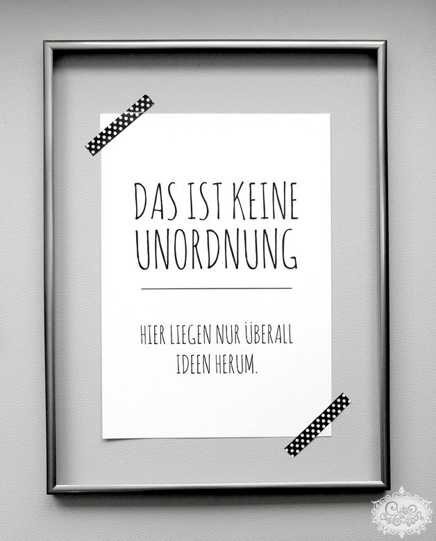 UNORDNUNG vs. IDEEN' DinA 4 Typo Druck | Typo, Wise words and ...