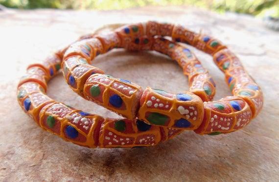 Glass trade beads African Krobo recycled powder glass Ghana Art handmade