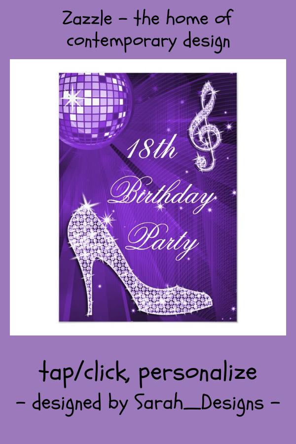 sparkle heels purple disco ball 18th