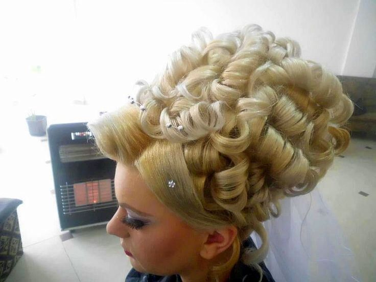 Big Updo Pile Of Cluster Curls Bridal Hair Updos
