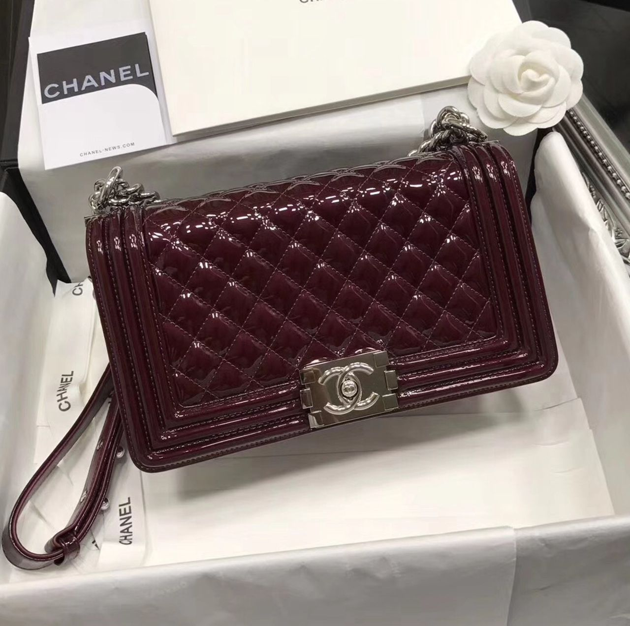 24de727671d0 Chanel Original Patent Leather Medium Le Boy Flap Bag in Burgundy 25cm