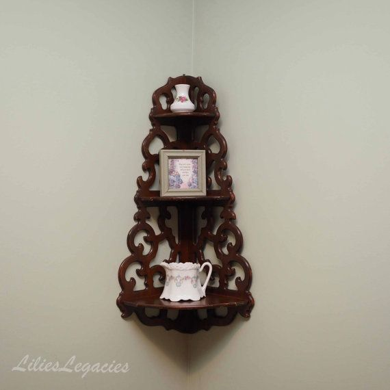 Victorian Corner Shelf Antique Wooden Hanging 3 Tier Wall Etsy Wall Shelf Decor How To Antique Wood Antiques