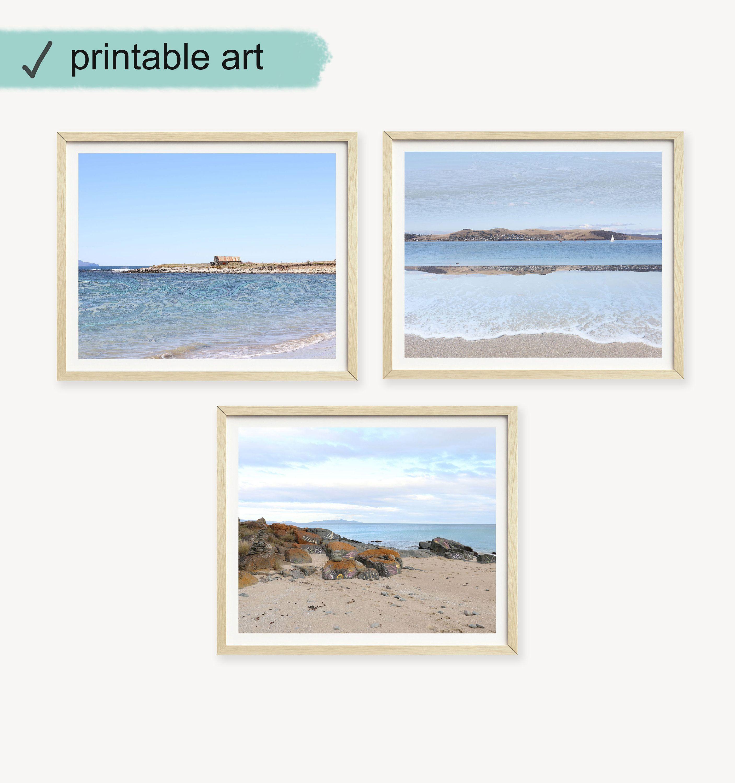 Set Of Three Coastal Wall Art Beach Prints Gallery Wall Set
