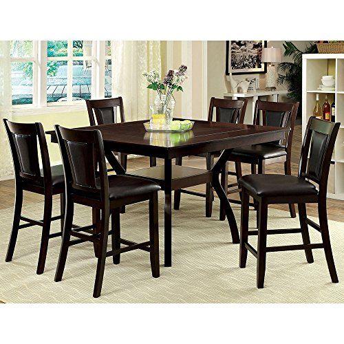 Beau Furniture Of America Dionne Dark Cherry 7 Piece Counter Height Dining Set