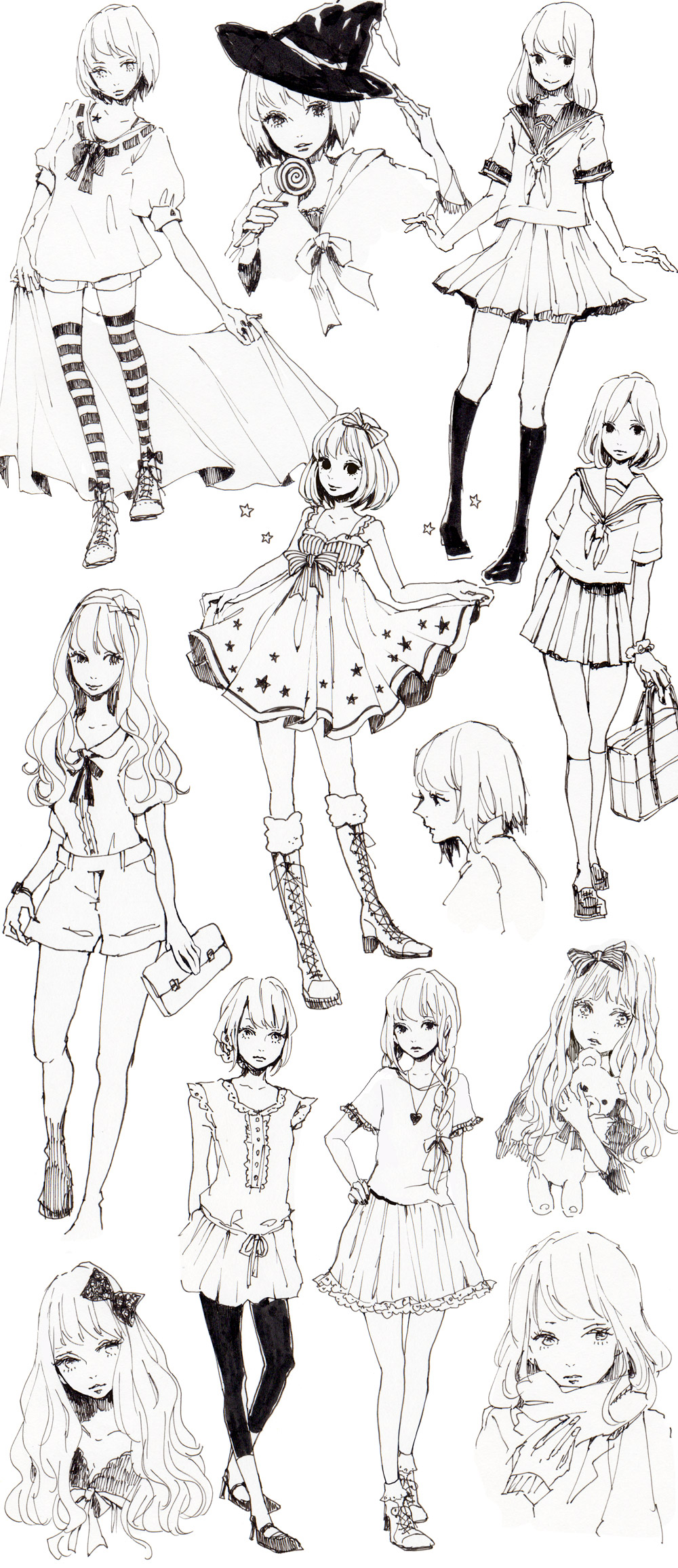 Different Poses & Clothes References. This sheet has a lot of nice