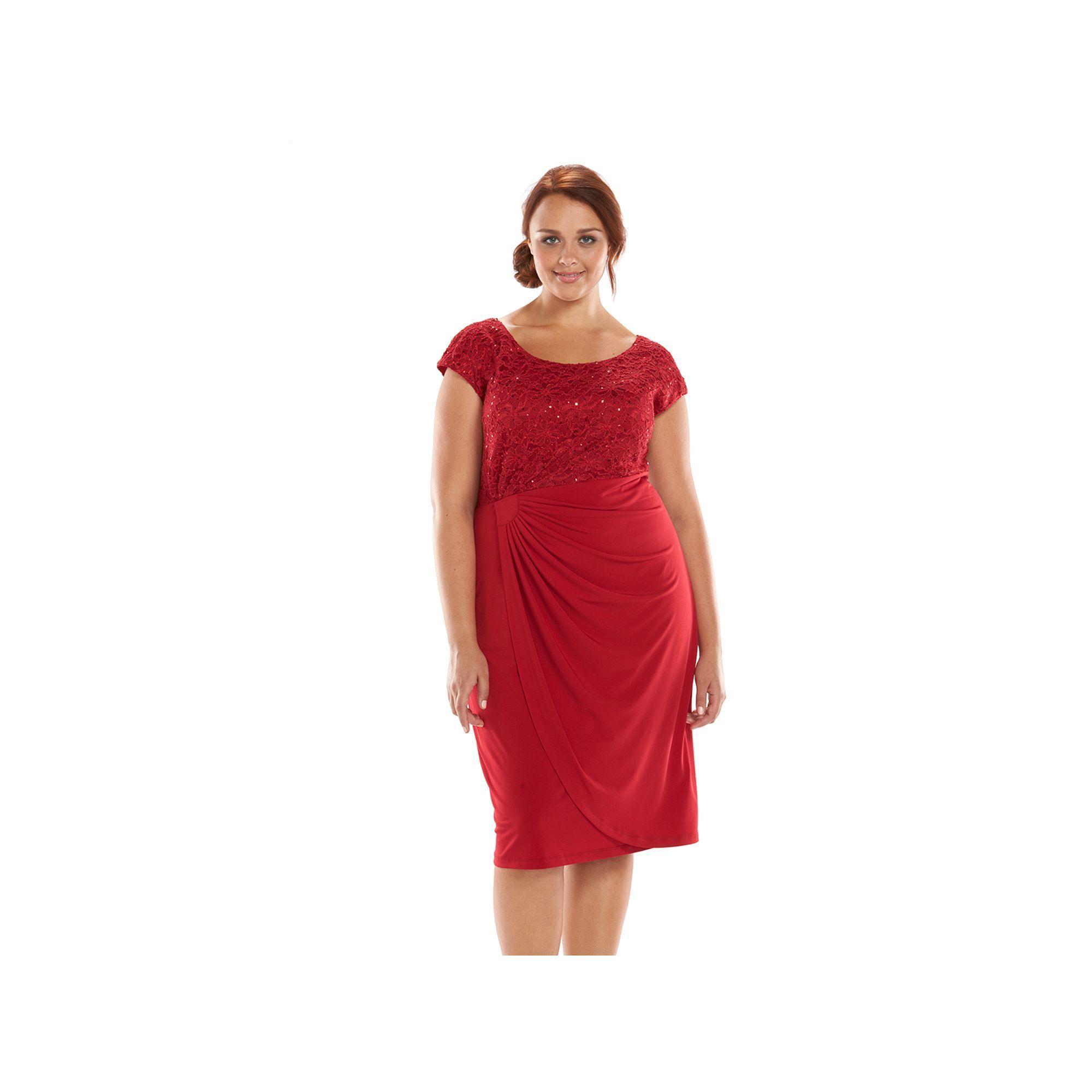 Plus Size Connected Apparel Sequin Lace Faux-Wrap Dress, Women's, Size: 14