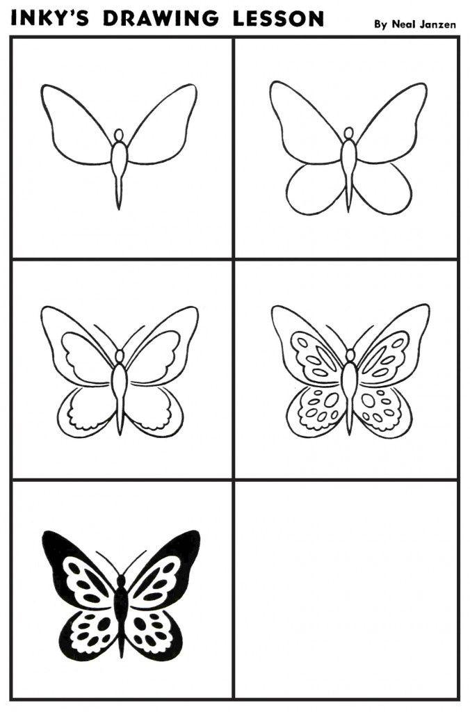 Encre de le on de dessin papillon 4212 comment dessiner dessine moi un mouton pinterest - Comment dessiner un papillon ...