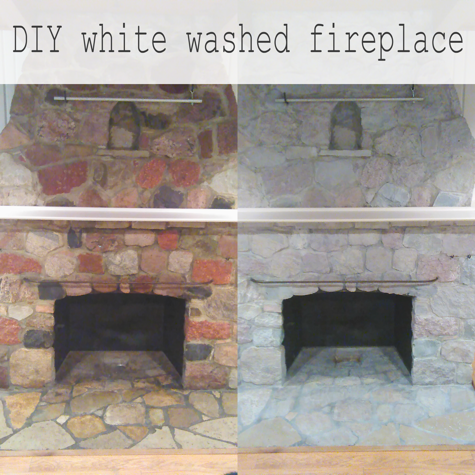 DIY WHITEWASHED PAINTED STONE FIREPLACE | Update an ugly ...