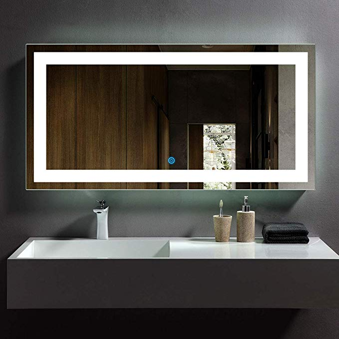 Amazon Com Dp Home Led Lighted Rectangle Bathroom Mirror Modern Wall Mirror With Lights W Modern Bathroom Mirrors Led Mirror Bathroom Bathroom Mirror Lights