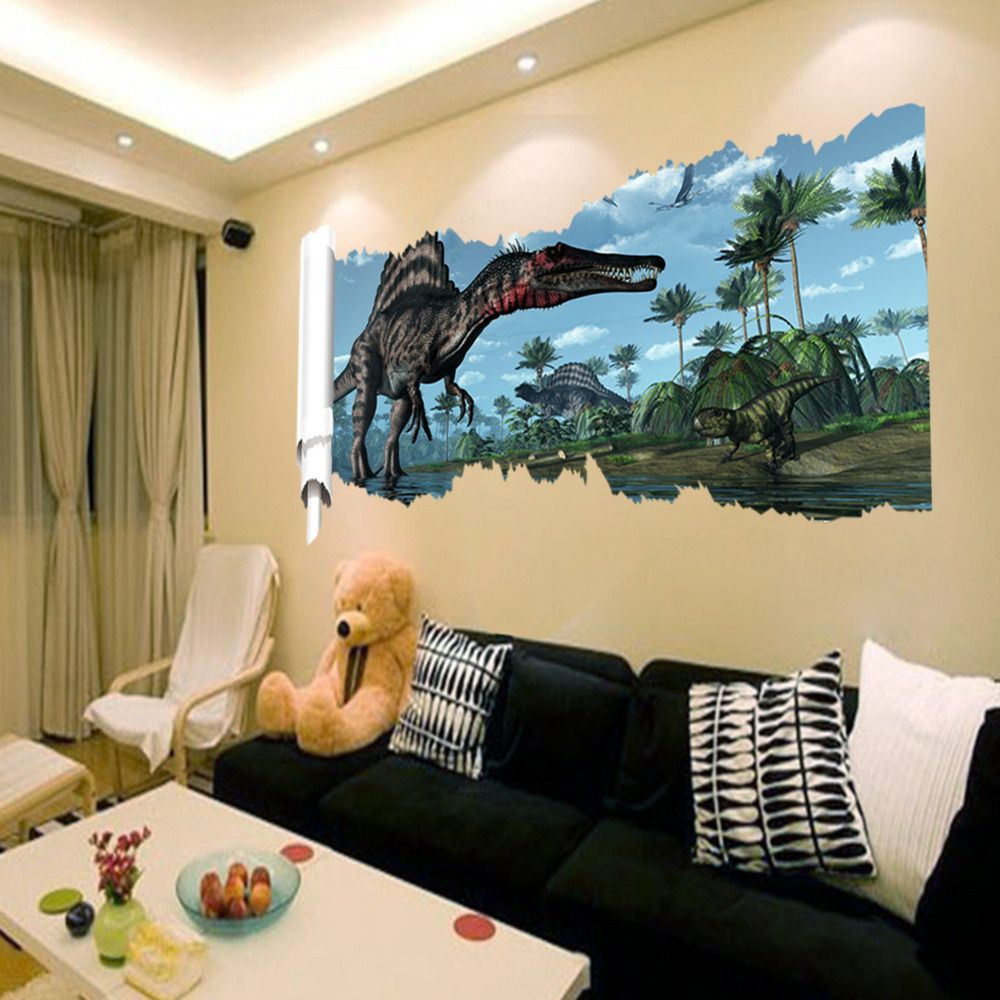 Cartoon 3D Dinosaur Wall Sticker for kids rooms Child Art Decor ...
