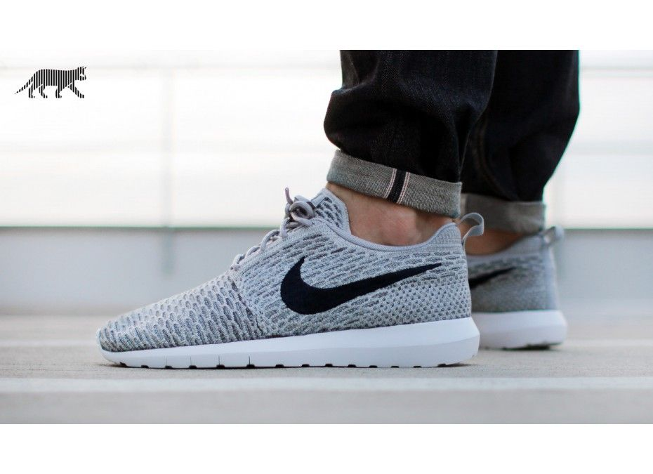 nike roshe run flyknit grey mens dress shoes