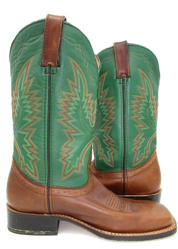 0764eb80eed Road Wolf womens Boots 8 38.5 Square Toe Western Cowgirl Green Brown  Leather  RoadWolf  CowboyBoots  CasualDressWork