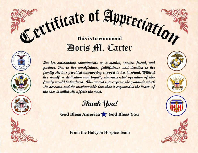 Military Wife Appreciation Certificate  Army Certificate Of Appreciation