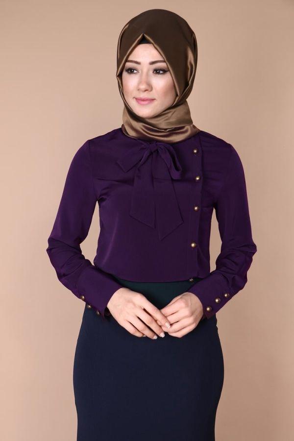 Yandan Düğmeli Fularlı Gömlek Mürdüm Ürün kodu: MSW8919 --> 54.90 TL
