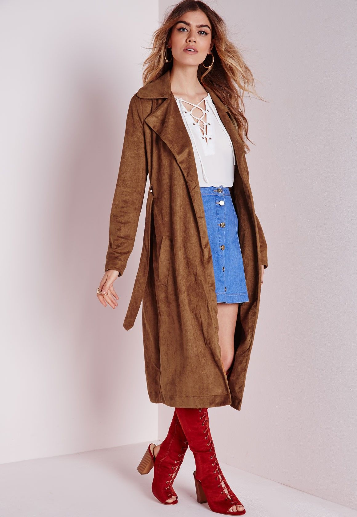 Petite Faux Suede Trench Coat Tan - Petite - Petite Coats and ...