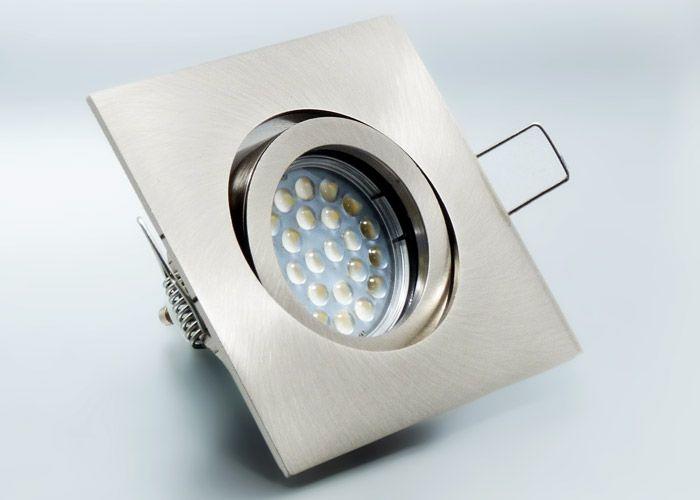 led einbaustrahler set mit marken gu10 led spot lc light 5 watt alu druckgu eckig kli. Black Bedroom Furniture Sets. Home Design Ideas