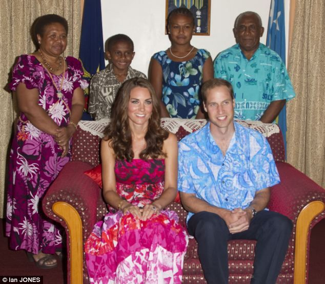VIP treatment: The Royal couple were attending a reception hosted by Governor-General Frank Kabui