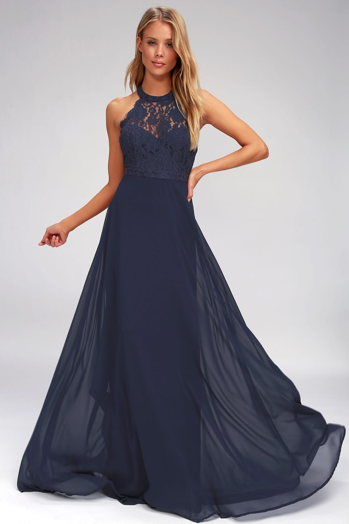 dance all evening navy blue lace maxi dress in 2020