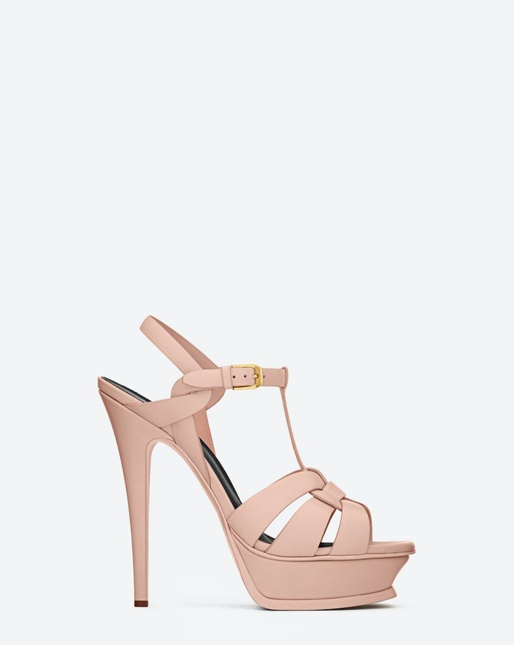 e65cfcff9 Saint Laurent CLASSIC TRIBUTE 105 SANDAL IN PALE BLUSH LEATHER