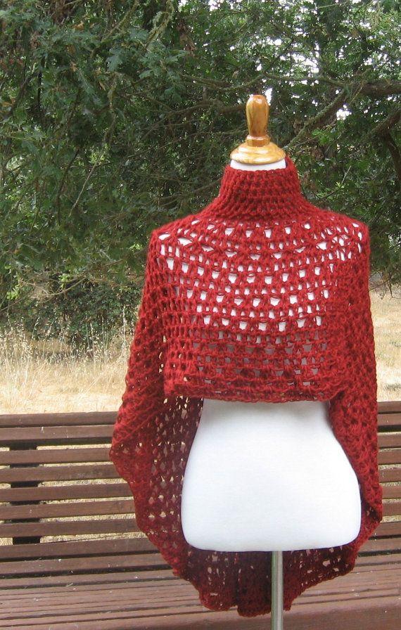 SHAWL RED PONCHO Crochet Capelet Mandala Chic Modern Hippie Boho ...