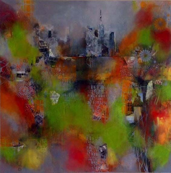 Abstract Mixed Media Collage Painting Done On Commission By Jackie Gray Bright Colors Cityscape Stencils