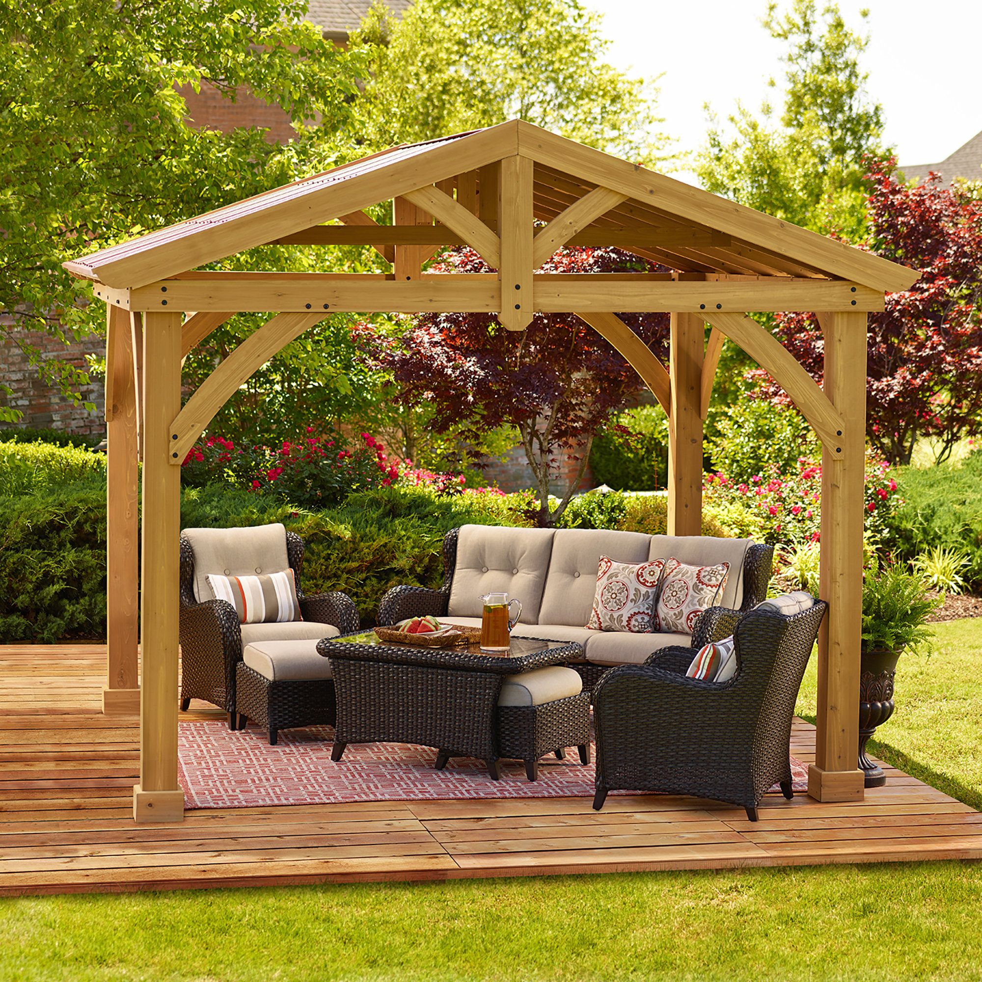 Avery Pavilion 10 Ft W X 12 Ft D Wood Permanent Gazebo Backyard Pavilion Patio Gazebo Backyard Patio