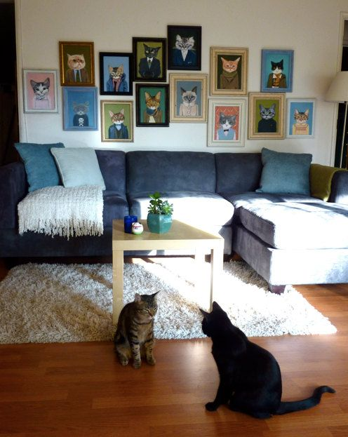 Framed Large Giclee of Cats In Clothes by HeatherMattoonArt