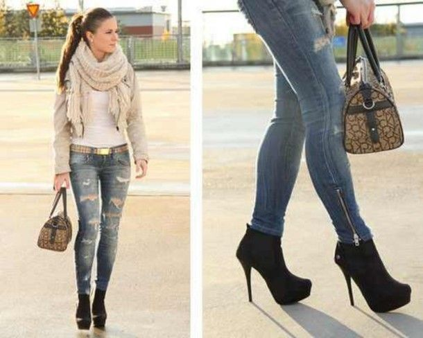 jeans high heels black high heels edit tags | must have shoes ...