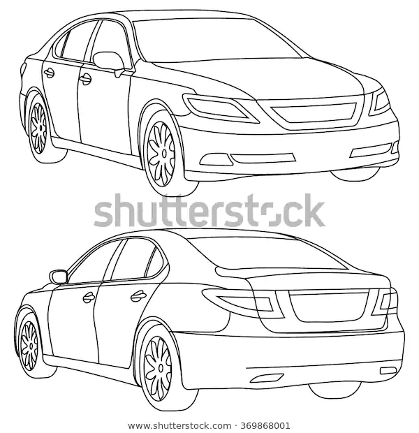 Vector Business Car Line Draw Two Stock Vector Royalty Free 369868001 Line Drawing Two Stock Draw Two