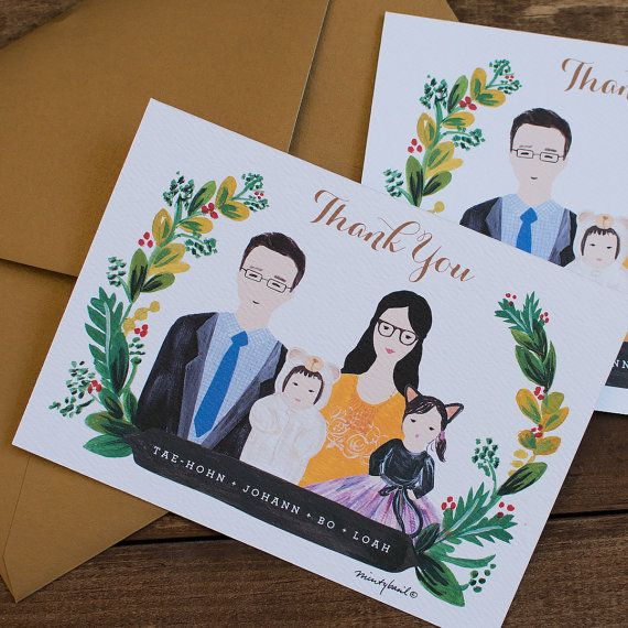 family portrait illustration, family illustration, personalized thank you cards