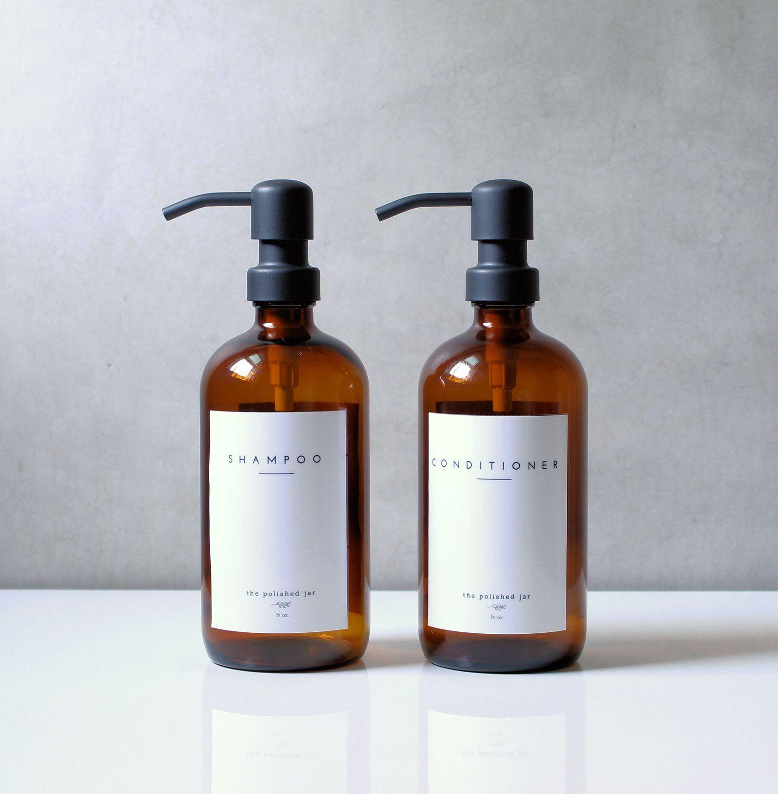 Amber Glass Bottle Soap Dispenser Shampoo Conditioner Metal Etsy