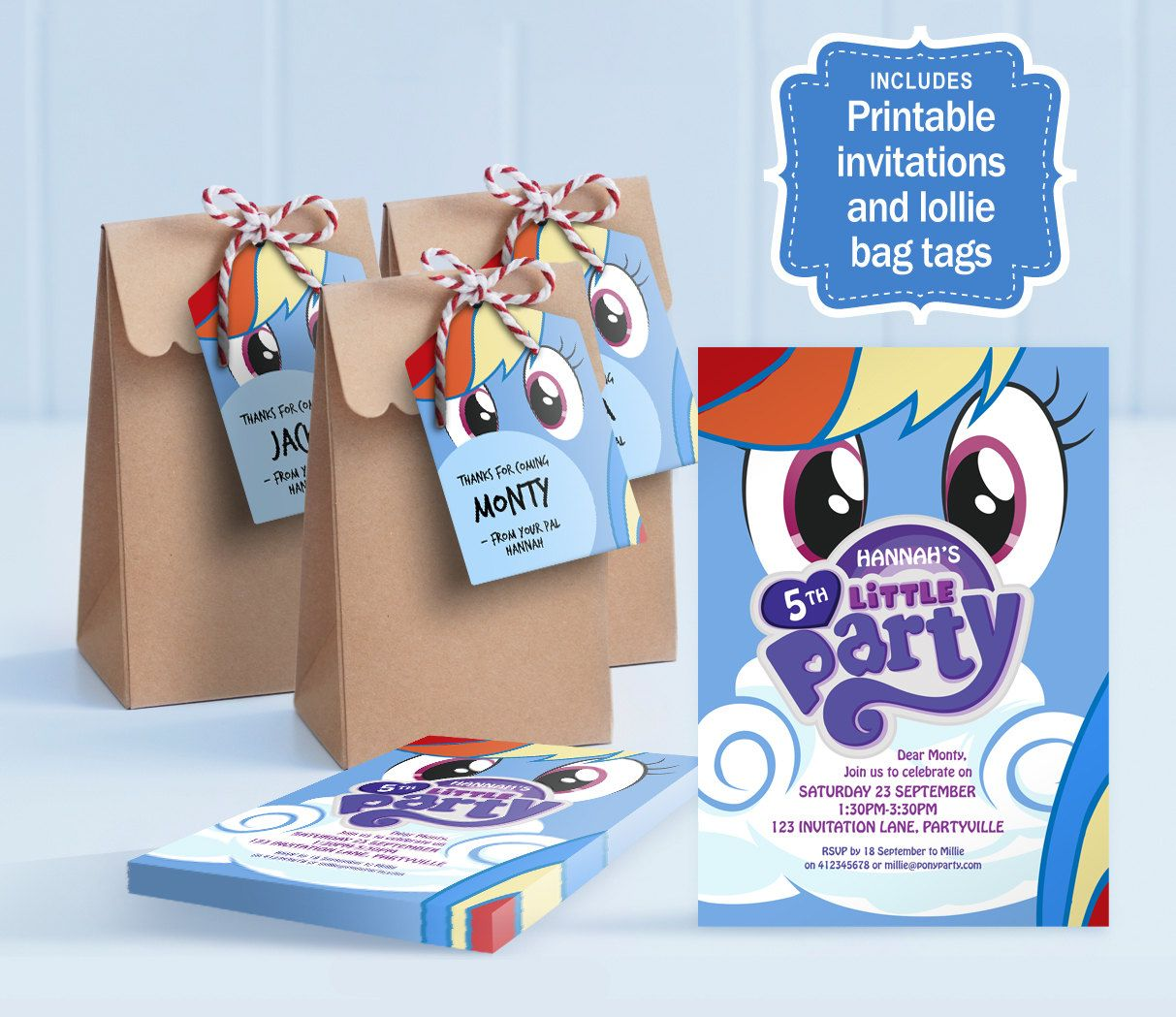 My Little Pony Party Rainbow Dash Printable Invitations And Lolly - My little pony birthday party invitation template