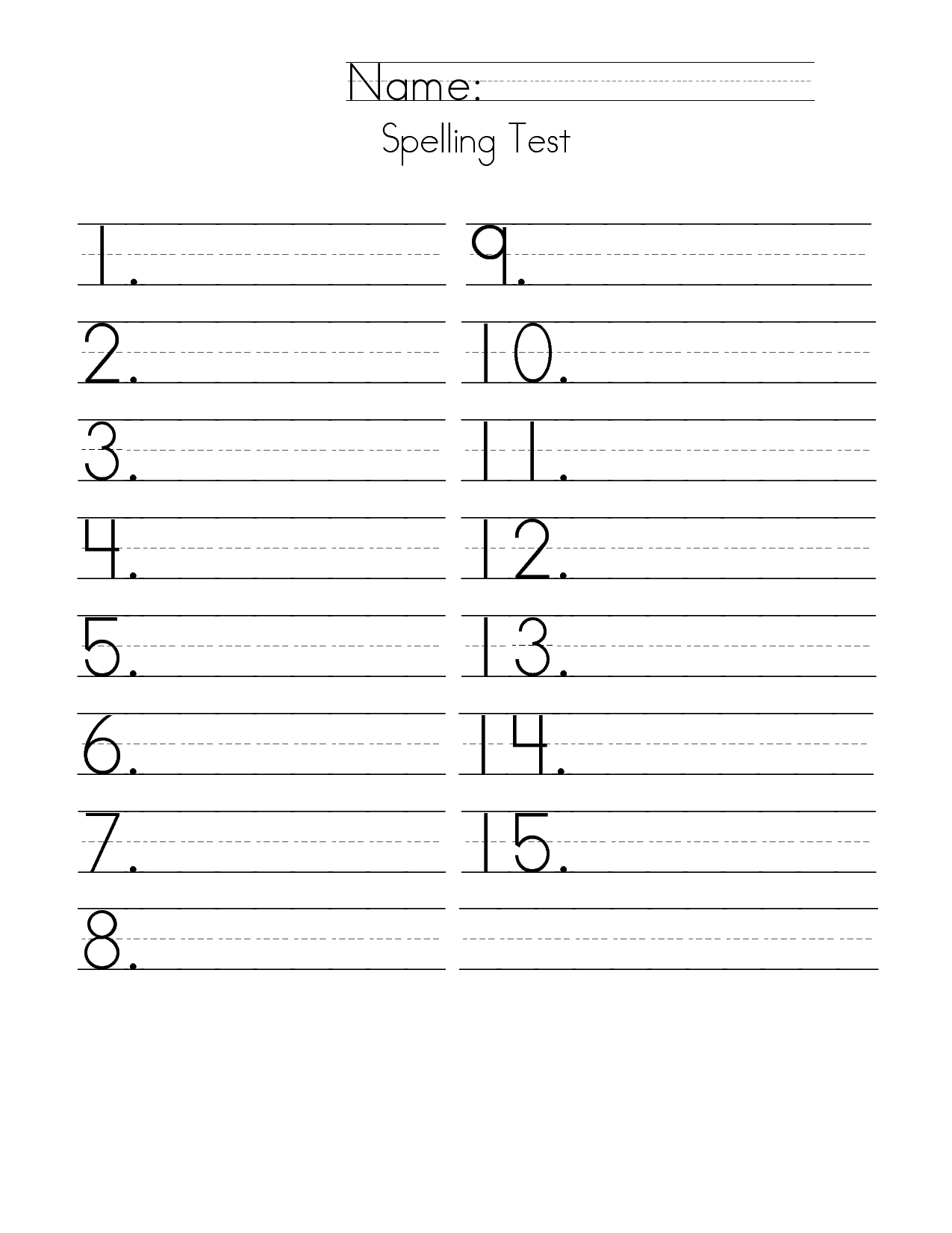 first grade spelling test paper | 15 Answer Spelling Test Paper