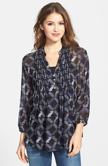 Casual Studio Pleated Print Blouse available at #Nordstrom