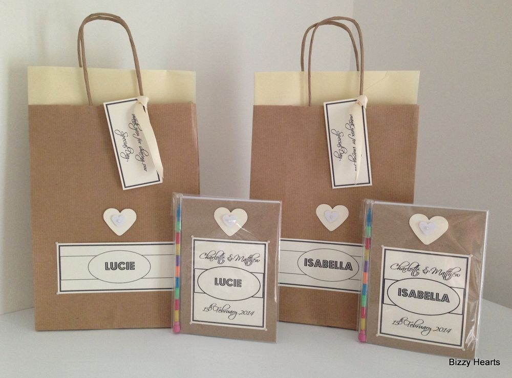 Personalised Childrens VINTAGE STYLE Activity Pack Gift Bag Wedding Party HRT