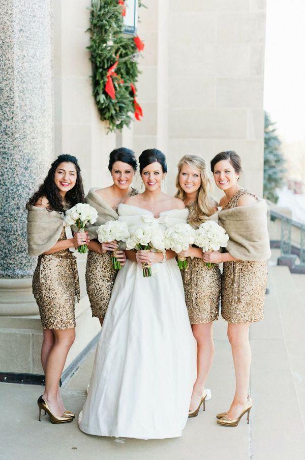 Winter Wedding Ideas Gold Sequined Bridesmaids Dresses Deer Pearl Flowers