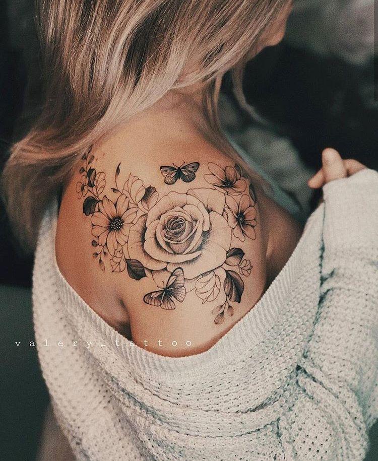 15++ Tatouage femme epaule rose inspirations