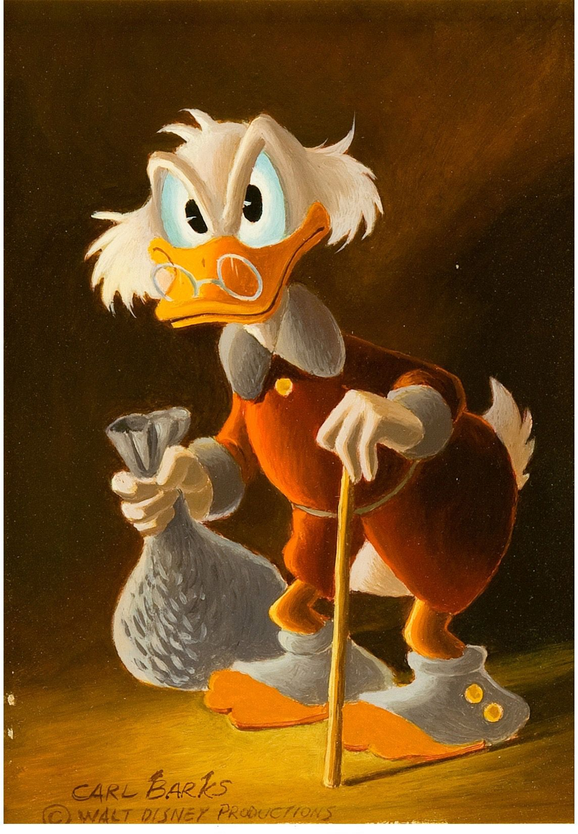 cd2d2c251 Uncle Scrooge with Money Bag. Oil painting by Carl Barks of perhaps his  most famous character, circa 1971.