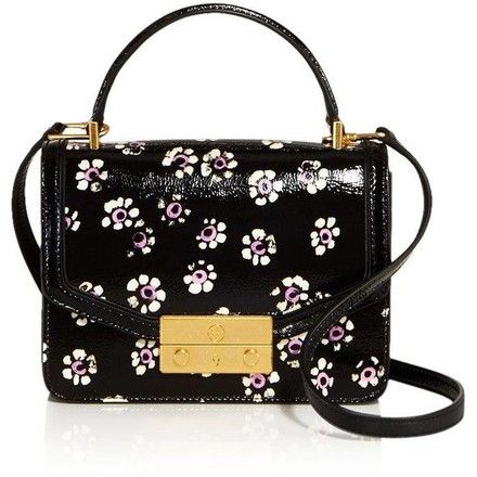 06c8af96e90a Tory Burch Juliette Floral Top Handle Black Leather Satchel - Tradesy