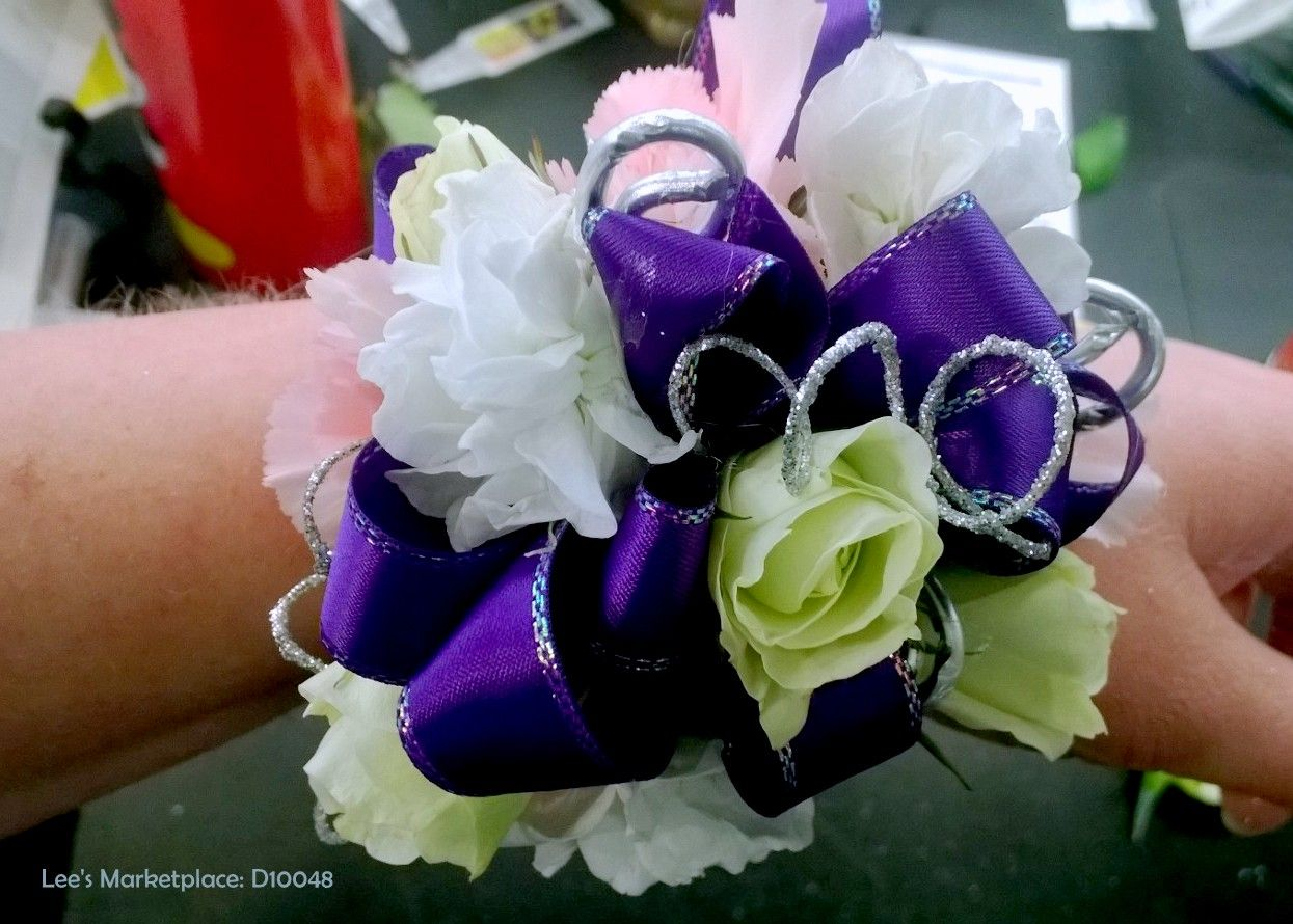 corsage | green mini roses, white and pink lisianthus, purple satin ribbon with silver wire accents