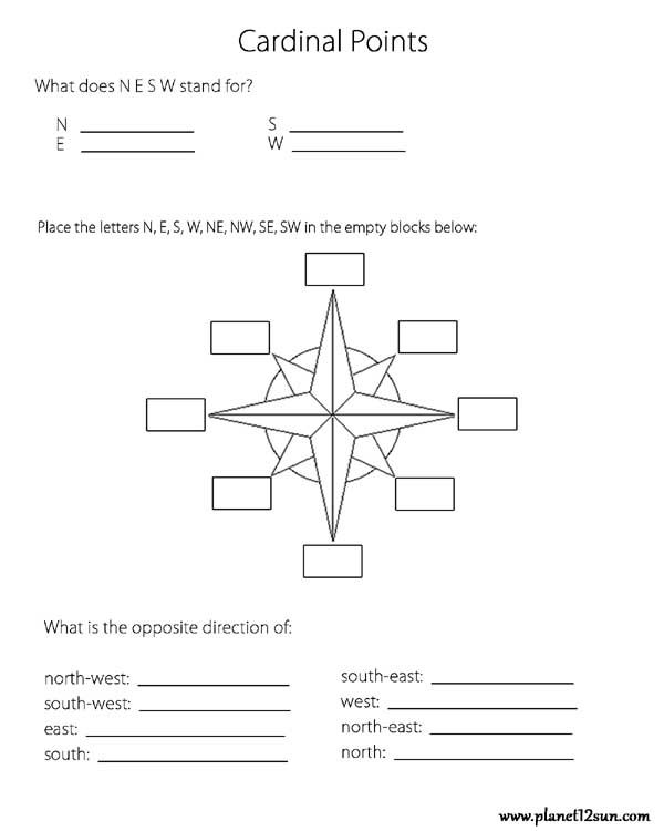 cardinal points worksheets free printable worksheets free worksheets for kids 1st grade. Black Bedroom Furniture Sets. Home Design Ideas