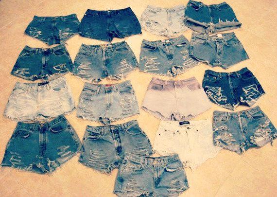 Custom Made High Waisted Denim Shorts Jean Shorts Hipster Tumblr Grunge High Waisted Shorts Vintage High Waisted Shorts Denim Shorts