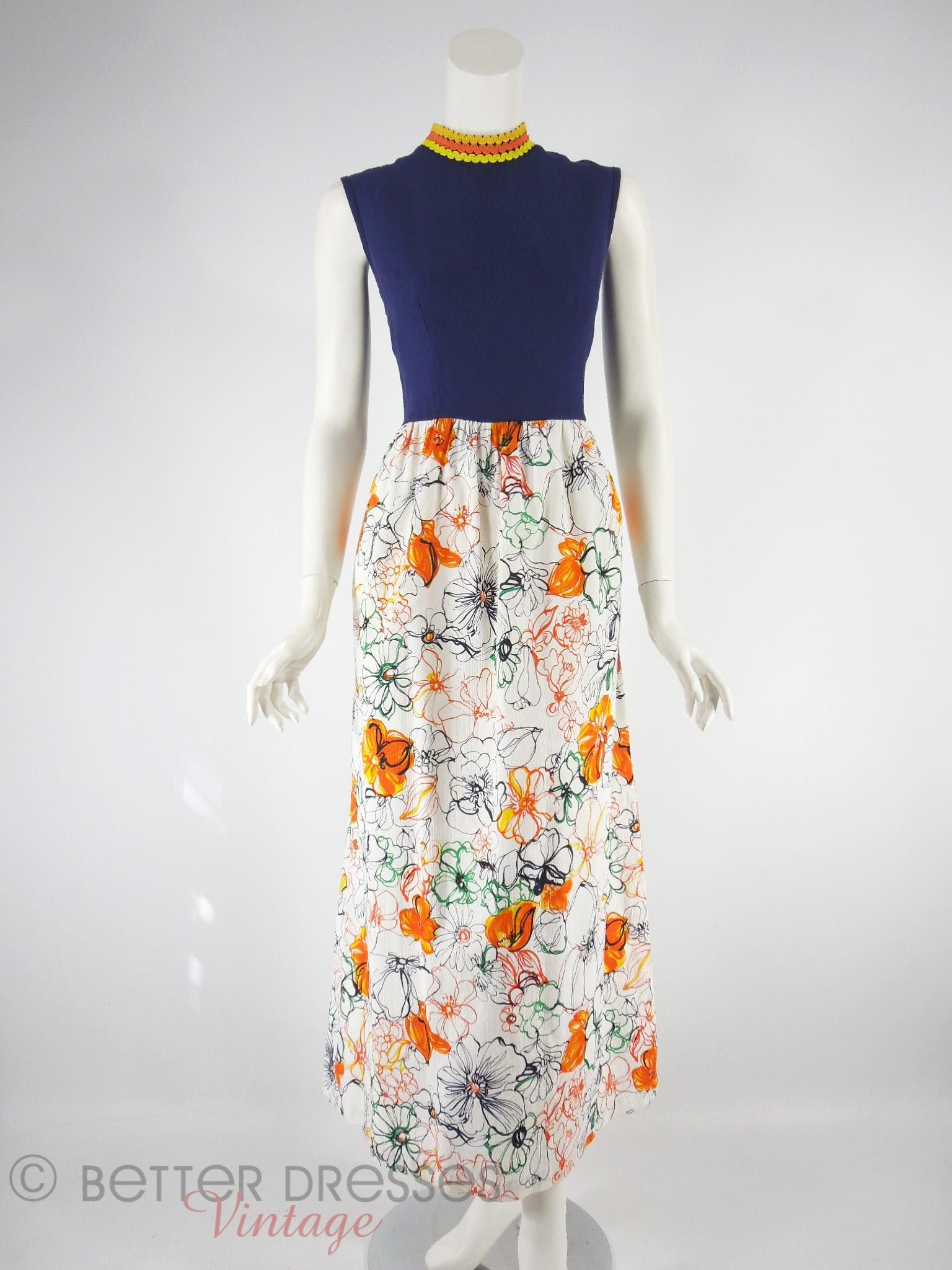cb1bcee1b0c Vtg 70s Sleeveless Maxi Dress in Navy   Floral Cotton - sm by Better Dresses  Vintage