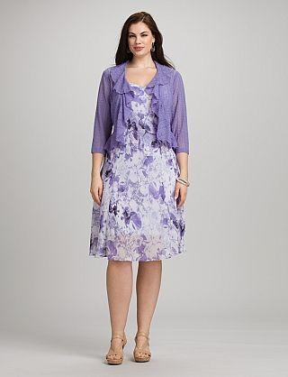 Plus Size Floral Chiffon Jacket Dress   Lovely dresses