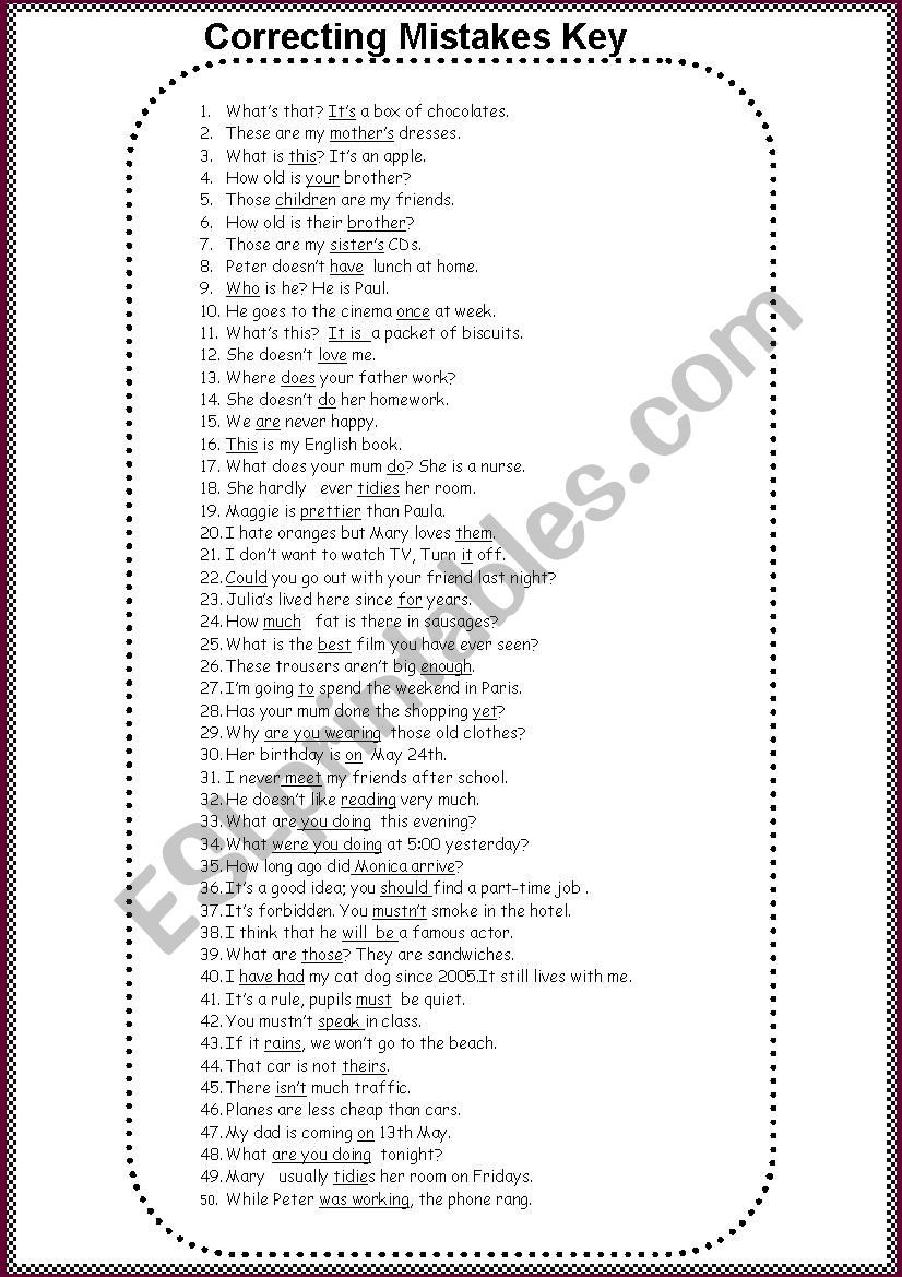 Correcting Mistakes Worksheet Sentence Correction Worksheets Grammar Worksheets Mistakes [ 1169 x 826 Pixel ]