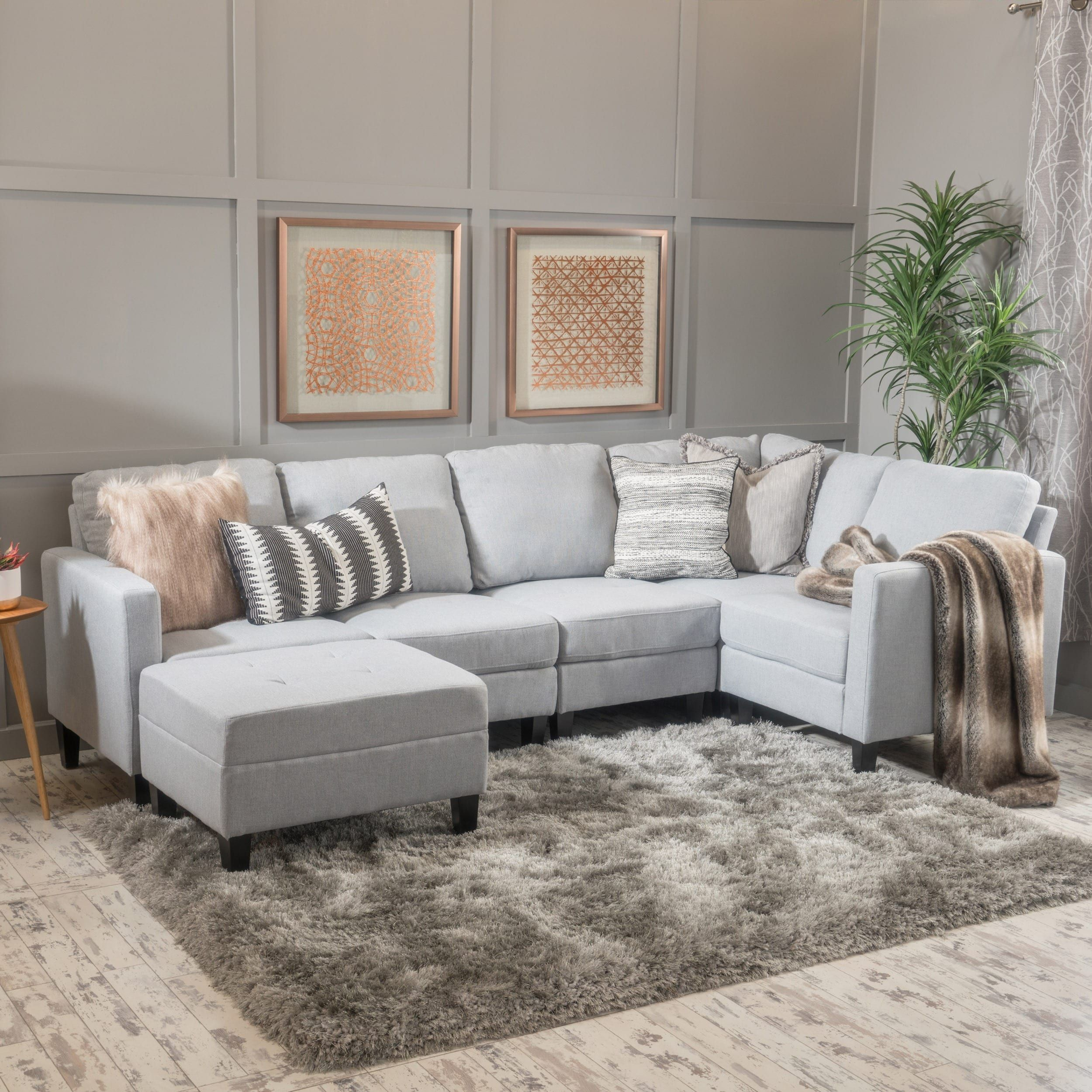 Zahra 6 Piece Fabric Sofa Sectional With Ottoman By Christopher Knight Home Small Sectional Sofa Sectional Sofa Fabric Sectional