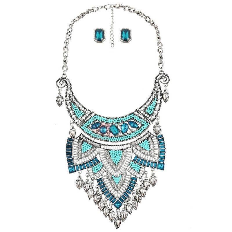 TideBuy - TideBuy Retro Rhinestone & Resin Pellets Inlaid Jewelry Set - AdoreWe.com
