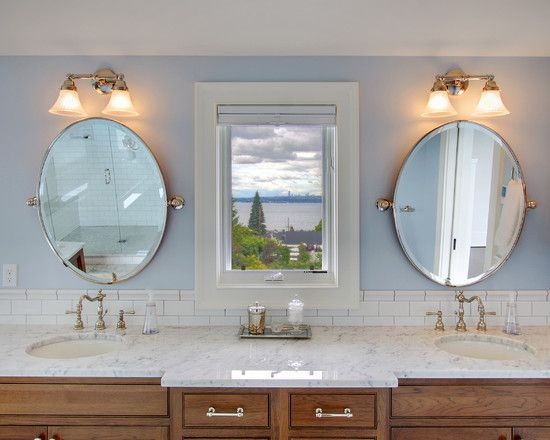 Bathroom Oval Mirrors Sconces Design Pictures Remodel Decor