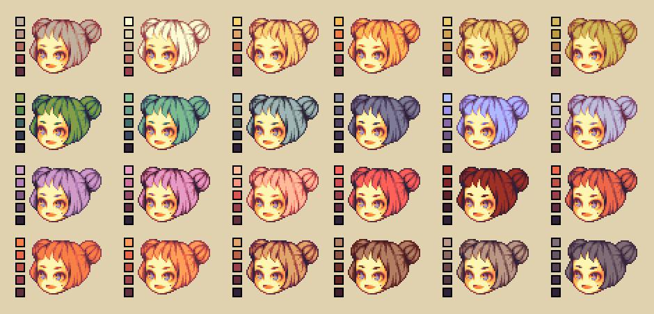 Color Palette Hair By Runmry Pixel Art Characters Pixel Art Design Pixel Art